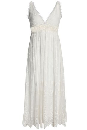 ZIMMERMANN Lace-trimmed broderie anglaise silk-chiffon midi dress