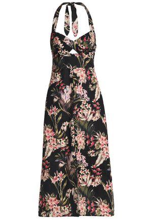 ZIMMERMANN Cutout floral-print linen and cotton-blend halterneck midi dress