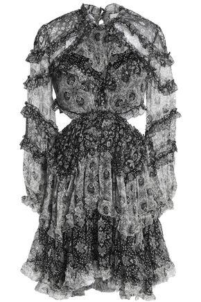 ZIMMERMANN Cutout ruffled printed silk-georgette mini dress