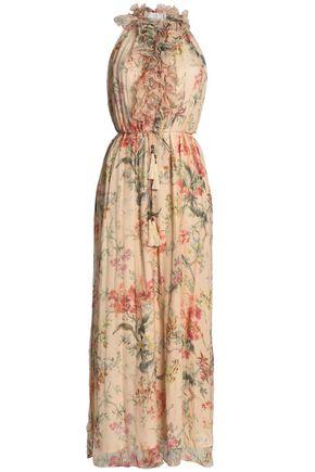 ZIMMERMANN Ruffle-trimmed floral-print silk-georgette wide-leg jumpsuit
