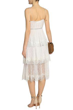 ZIMMERMANN Tiered Swiss-dot silk-georgette midi dress