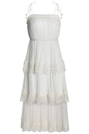 ZIMMERMANN Tiered Swiss-dot silk-georgette midi dress