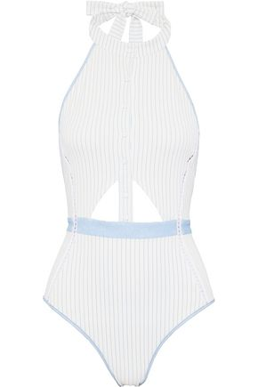 JONATHAN SIMKHAI Cutout striped piqué halterneck swimsuit