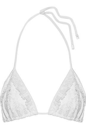 JONATHAN SIMKHAI Ruffle-trimmed embroidered triangle bikini top