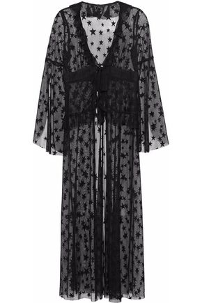 ANNA SUI Ruffle-trimmed embroidered mesh robe