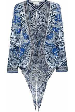 CAMILLA Split-back crystal-embellished printed twill jacket