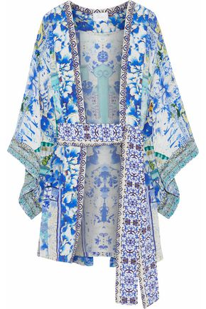 CAMILLA Crystal-embellished printed silk crepe de chine robe