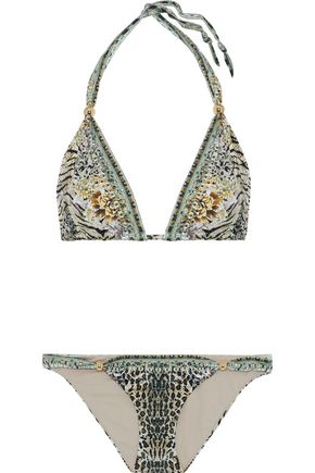 CAMILLA Crystal-embellished printed triangle bikini