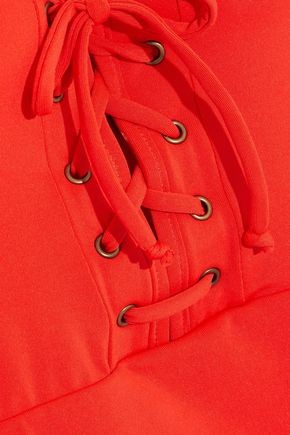 JETS AUSTRALIA by JESSIKA ALLEN Jetset Plunge lace-up halterneck swimsuit