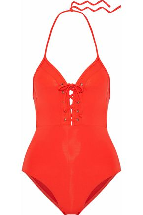 JETS AUSTRALIA by JESSIKA ALLEN Lace-up cutout halterneck swimsuit