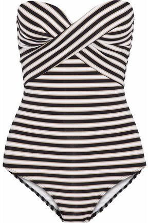 JETS AUSTRALIA by JESSIKA ALLEN Twist-front striped bandeau swimsuit