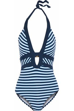 JETS AUSTRALIA by JESSIKA ALLEN Cutout striped halterneck swimsuit