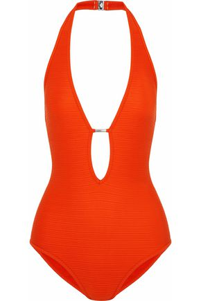 JETS AUSTRALIA by JESSIKA ALLEN Lattice-trimmed cutout striped halterneck swimsuit