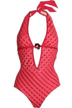 LA PERLA Floral-appliquéd striped halterneck swimsuit