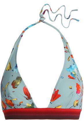 LA PERLA Floral-print triangle bikini top