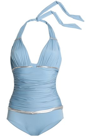 LA PERLA Ruched metallic-trimmed halterneck swimsuit