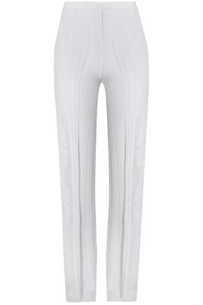 LA PERLA Lattice-trimmed stretch-knit wide-leg pants