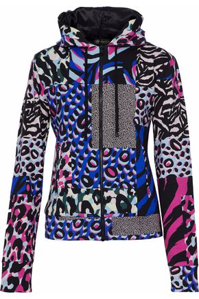 VERSACE Patchwork-effect printed stretch-cotton hooded sweatshirt