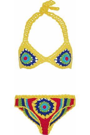 MOSCHINO Crocheted cotton triangle bikini