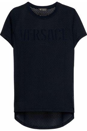 VERSACE Appliquéd mesh T-shirt