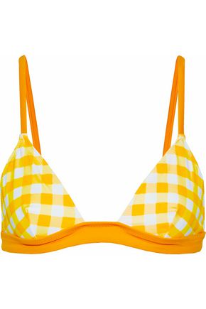 SOLID & STRIPED Checked triangle bikini top