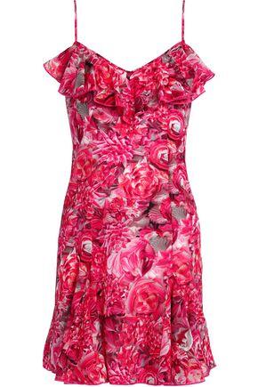 LA PERLA Ruffled floral-print silk-blend crepe mini dress