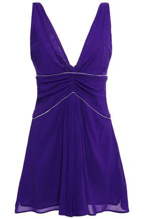 LA PERLA Ruched crepe-tulle mini dress