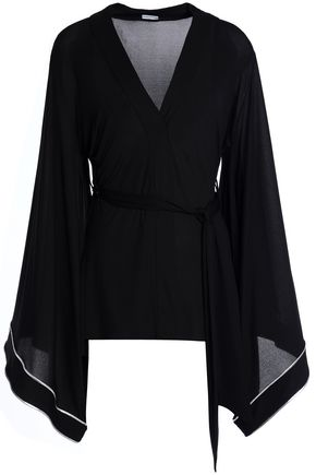 LA PERLA Draped belted jersey top