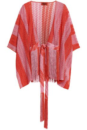MISSONI Fringe-trimmed striped crochet-knit coverup