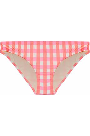 SOLID & STRIPED Checked low-rise bikini briefs