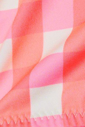 SOLID & STRIPED The Elle neon checked bikini top