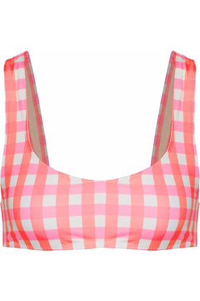 SOLID & STRIPED Elle neon checked bikini top