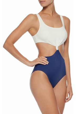 SOLID & STRIPED The Bailey cutout knotted two-tone swimsuit