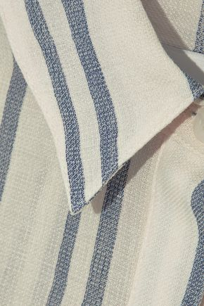 SOLID & STRIPED Tie-front striped cotton-gauze shirt