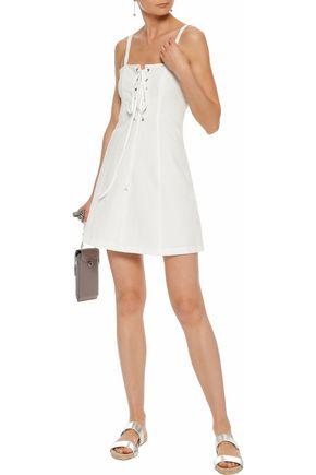 STAUD x SOLID & STRIPED The Catalina lace-up cotton-seersucker mini dress