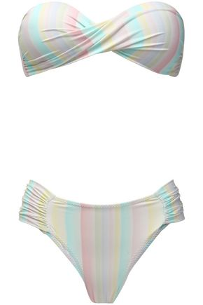 ISOLDA Queen twist-front striped bandeau bikini