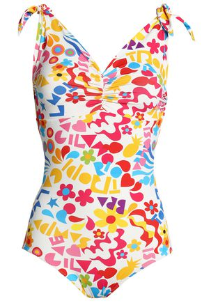 ISOLDA Ruched printed swimsuit