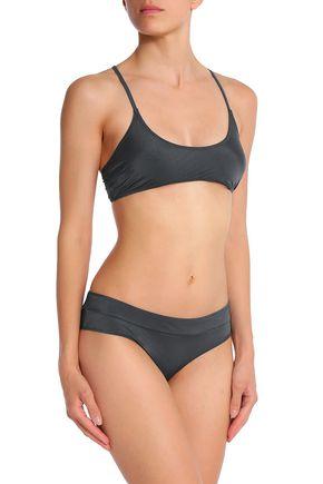 BOWER Striped bikini top