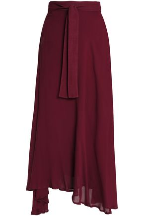 BOWER Asymmetric mousseline wrap skirt