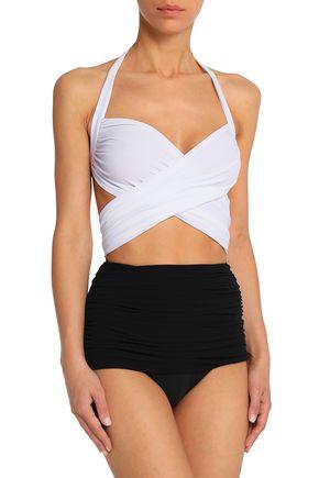 NORMA KAMALI Cutout ruched two-tone swimsuit