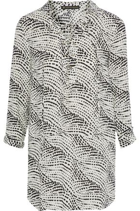 VIX PAULA HERMANNY Ellie lace-up printed gauze tunic