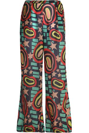 BOWER Printed voile wide-leg pants