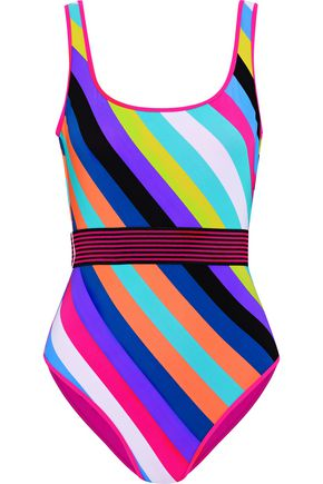 DIANE VON FURSTENBERG Belted striped swimsuit