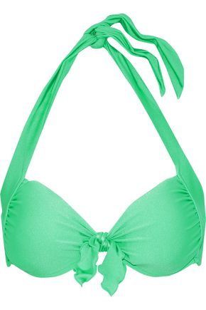 SEAFOLLY Shimmer knotted gathered halterneck bikini top