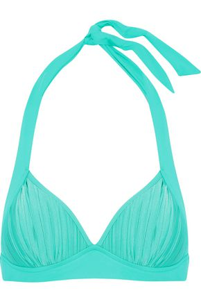 SEAFOLLY Pleated halterneck bikini top