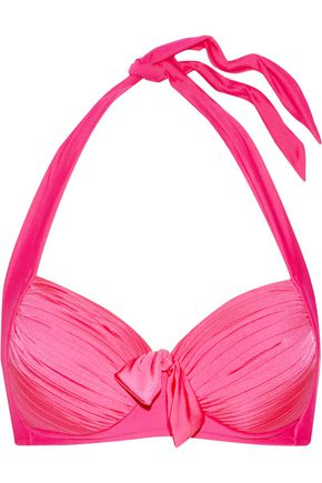 SEAFOLLY Knotted pleated halterneck bikini top
