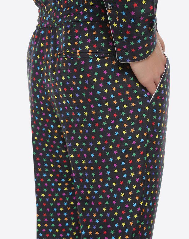 Star-print silk pyjama trousers
