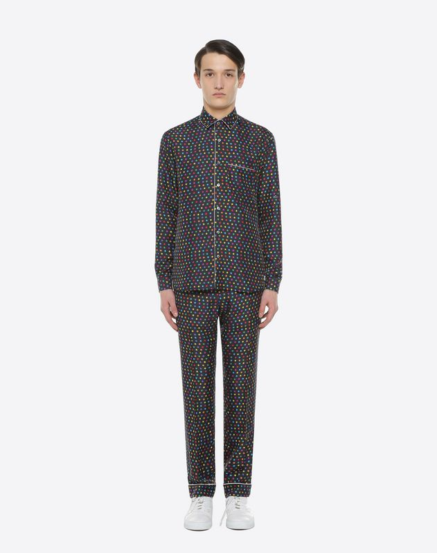 Star-print silk pyjama trousers