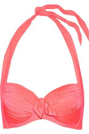 SEAFOLLY Knotted pleated halterneck bikini top