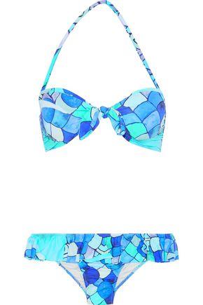 ISOLDA Knotted ruffled printed bandeau bikini